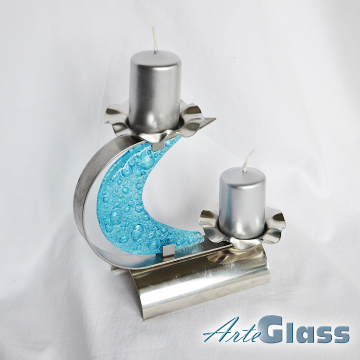 "Candlestick ""C"" stainless steel + turquoise glass: modern  by ArteGlass, Modern Iron/Steel"