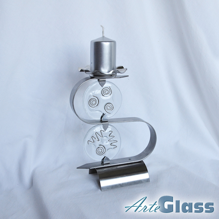 "Candlestick ""S"" stainless steel + clear glass: modern  by ArteGlass, Modern Iron/Steel"