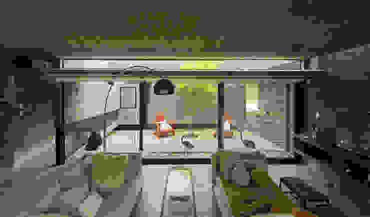 Casa S & S Salones minimalistas de Besonías Almeida arquitectos Minimalista Hormigón