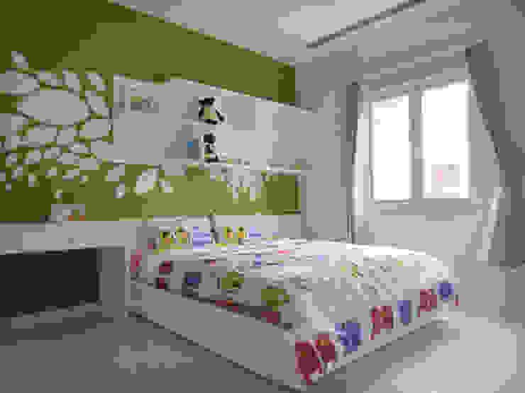 Màu xanh lá cây năng động, phù hợp với không gian dành cho bé trai. Phòng ngủ phong cách châu Á bởi Công ty TNHH TK XD Song Phát Châu Á Đồng / Đồng / Đồng thau