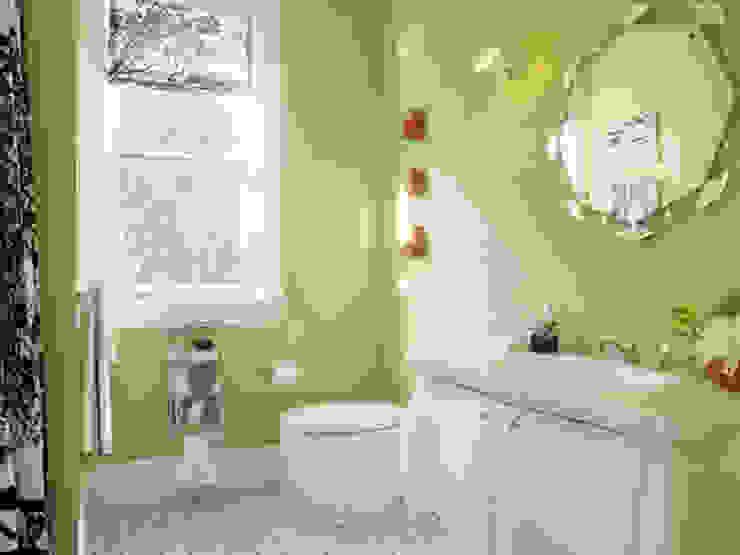 Vẫn là tông màu trắng kế hợp xanh lá cây chủ đạo. Phòng tắm phong cách châu Á bởi Công ty TNHH TK XD Song Phát Châu Á Đồng / Đồng / Đồng thau