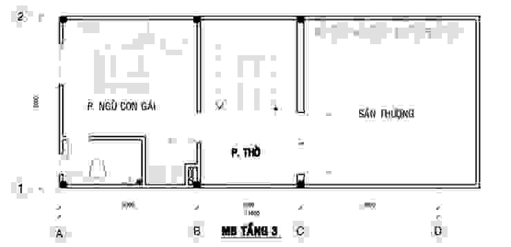 Bản vẽ mặt bằng tầng 3 nhà ống 75m2 bởi Công ty TNHH TK XD Song Phát Châu Á Đồng / Đồng / Đồng thau