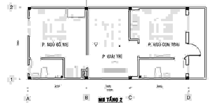 Bản vẽ mặt bằng tầng 2 nhà ống 75m2 bởi Công ty TNHH TK XD Song Phát Châu Á Đồng / Đồng / Đồng thau