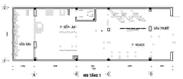 Bản vẽ mặt bằng tầng 1 nhà ống 75m2 bởi Công ty TNHH TK XD Song Phát Châu Á Đồng / Đồng / Đồng thau