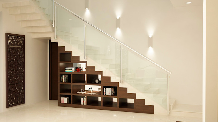 Stairs open display and storage by homify Asian