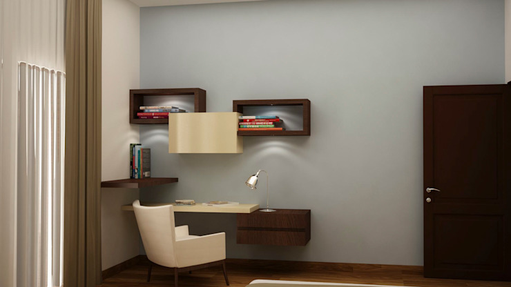 Study ledge with display Asian style study/office by homify Asian