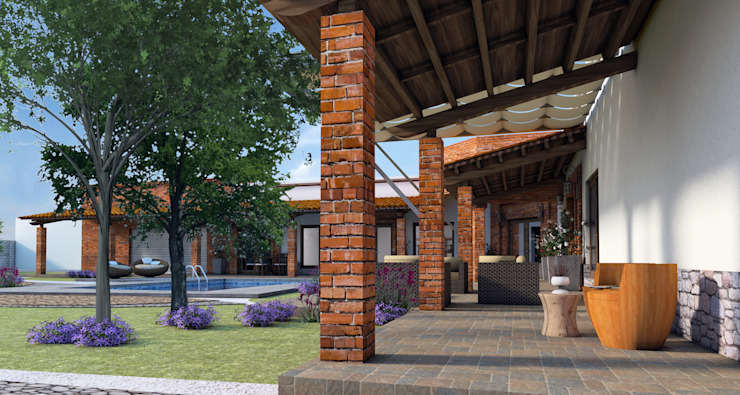 Rustic style corridor, hallway & stairs by Acrópolis Arquitectura Rustic Bricks