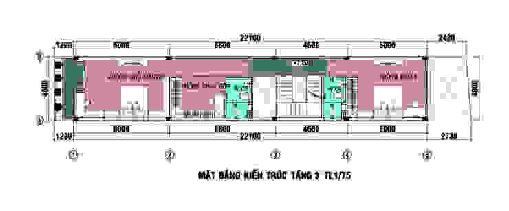 Bản vẽ thiết kế mặt bằng nhà ống 4 tầng bởi Công ty TNHH Xây Dựng TM – DV Song Phát Hiện đại