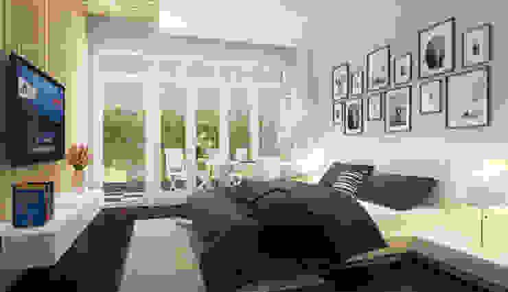 Phối cảnh nội thất tầng 1 Phòng ngủ phong cách hiện đại bởi Công ty TNHH Xây Dựng TM – DV Song Phát Hiện đại