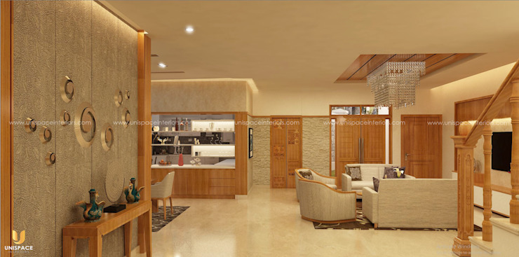 CONTEMPORARY INTERIORS BUNGALOW -RESIDENCE-VILLA INTERIOR-DINING AND LIVING by UNISPACE INTERIOR
