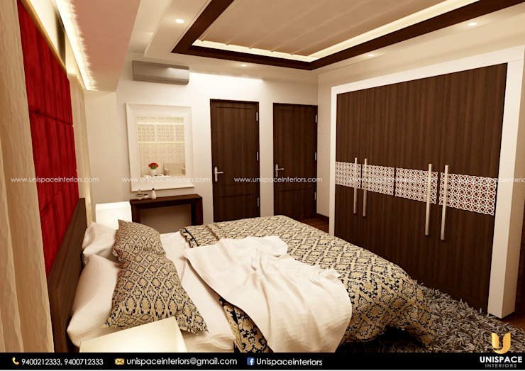 CONTEMPORARY INTERIORS BUNGALOW -RESIDENCE-VILLA INTERIOR-BEDROOM by UNISPACE INTERIOR