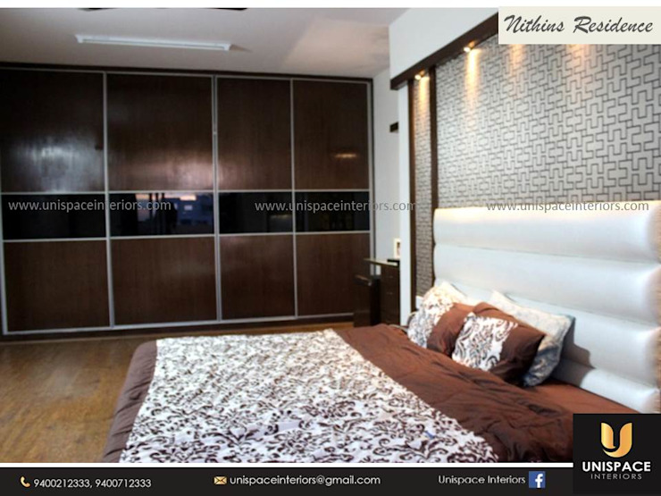 RESIDENCE VILLA APARTMENT INTERIORS -CONTEMPORARY INTERIORS- BEDROOM by UNISPACE INTERIOR