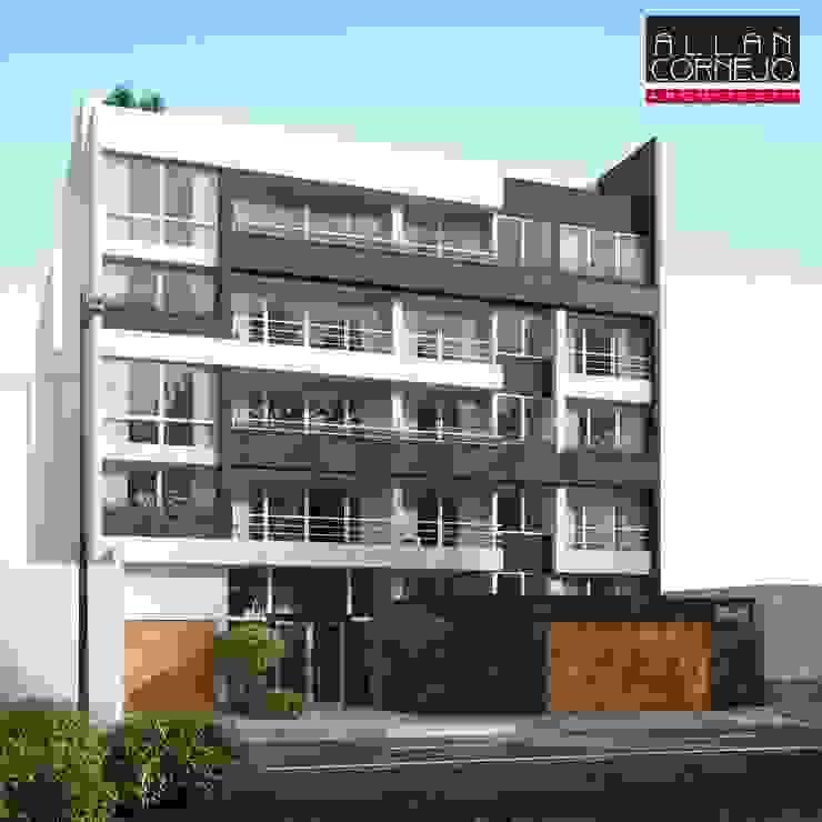 Fachada 3D de Estudio Allan Cornejo Arquitecto Minimalista Concreto
