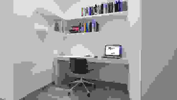 Área de escritorio Pasillos, vestíbulos y escaleras minimalistas de Estudio Allan Cornejo Arquitecto Minimalista Derivados de madera Transparente
