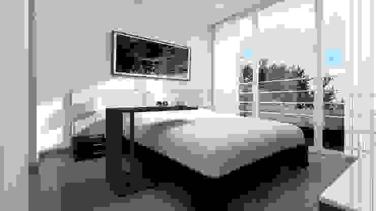 Distribución de Dormitorio de Estudio Allan Cornejo Arquitecto Minimalista Derivados de madera Transparente