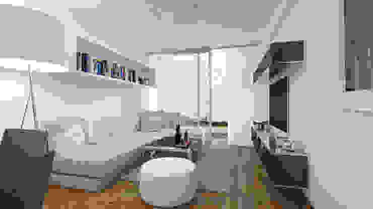 Distribución de Sala de Estudio Allan Cornejo Arquitecto Minimalista Derivados de madera Transparente
