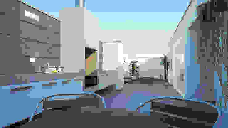 Distribución de Terraza Balcones y terrazas minimalistas de Estudio Allan Cornejo Arquitecto Minimalista Cerámico