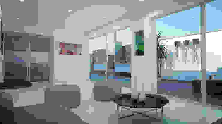 Distribución de Sala de Usos Múltiples Balcones y terrazas minimalistas de Estudio Allan Cornejo Arquitecto Minimalista Cerámico
