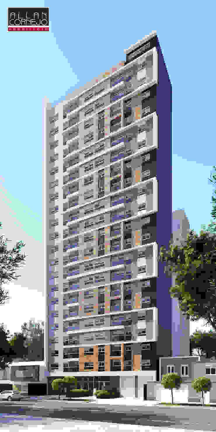 Fachada 3D de Estudio Allan Cornejo Arquitecto Moderno Derivados de madera Transparente