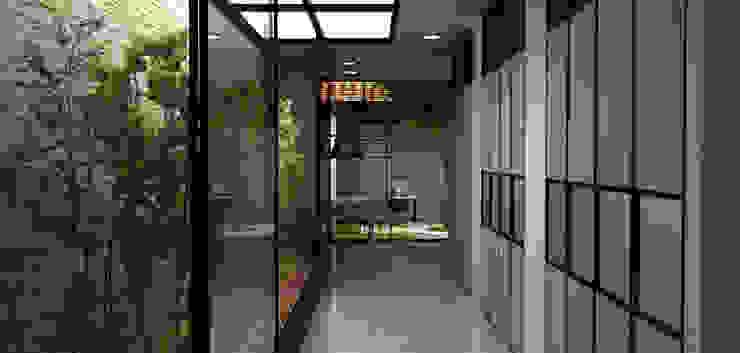 Casa Medianera Pasillos, vestíbulos y escaleras de estilo moderno de Elizabeth SJ Moderno