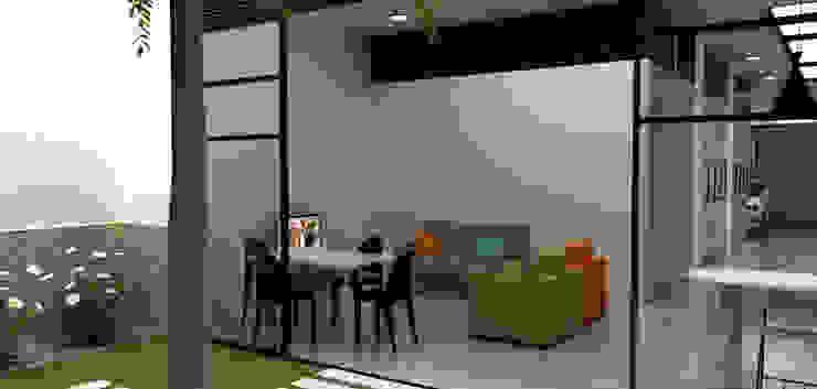 Casa Medianera Salas modernas de Elizabeth SJ Moderno