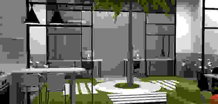 Casa Medianera Jardines de estilo moderno de Elizabeth SJ Moderno