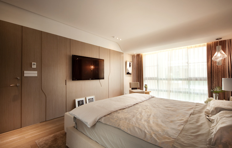 沐光植境設計事業 Modern style bedroom Plywood Grey