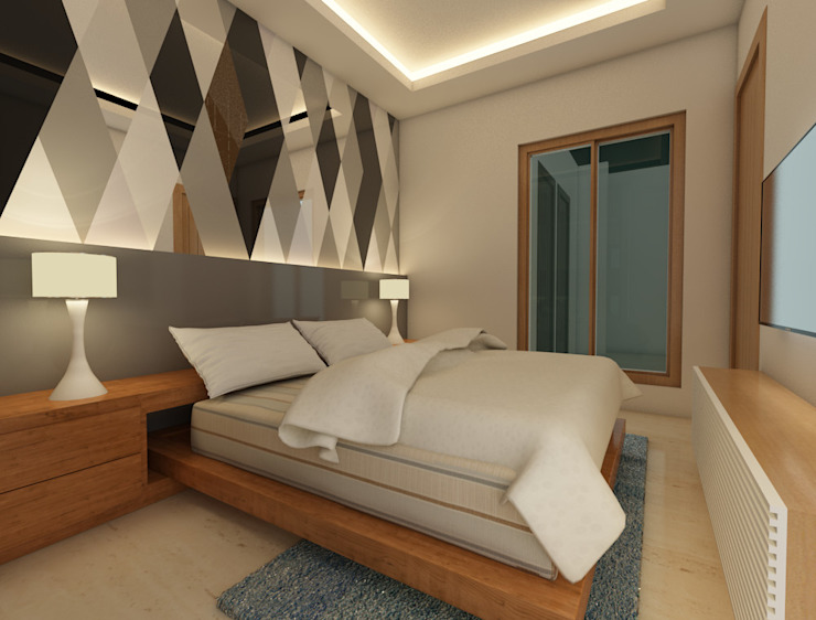 Modern style bedroom by Studio Rhomboid Modern Glass