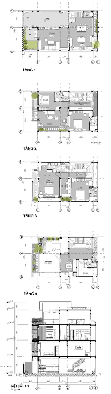 Mẫu Thiết Kế Nhà 4 Tầng 8x12m Hướng Tây Luôn Mát Mẻ Ở Gò Vấp bởi Công ty TNHH Xây Dựng TM – DV Song Phát Hiện đại