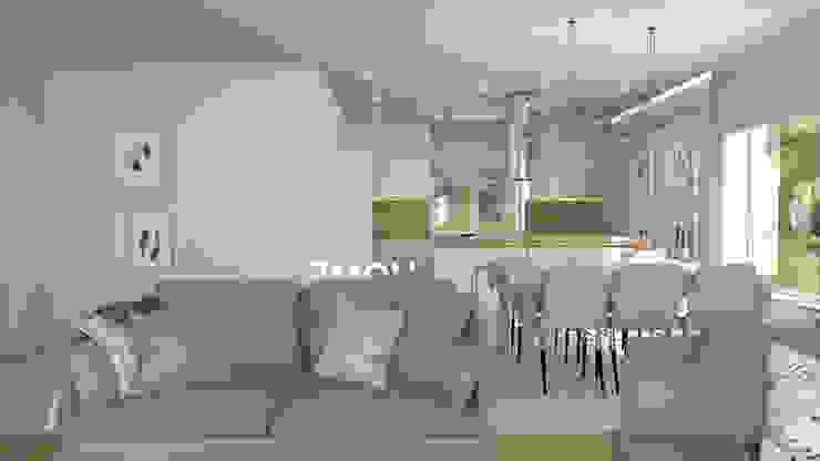 Jasny salon z aneksem kuchennym od DP Concept