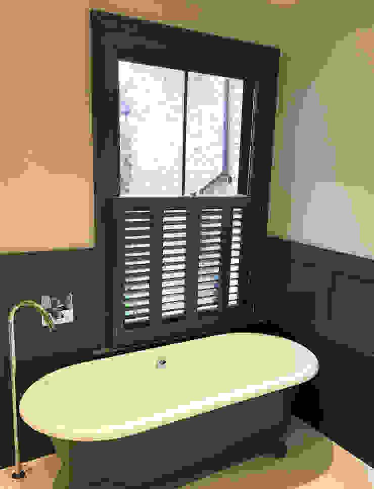 Cafe Style Shutters in a Bathroom Plantation Shutters Ltd BathroomFittings Kayu Green