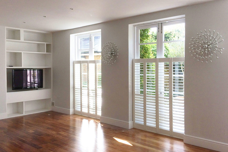 Cafe Style Shutters in a Living Room Plantation Shutters Ltd Living roomAccessories & decoration Kayu White