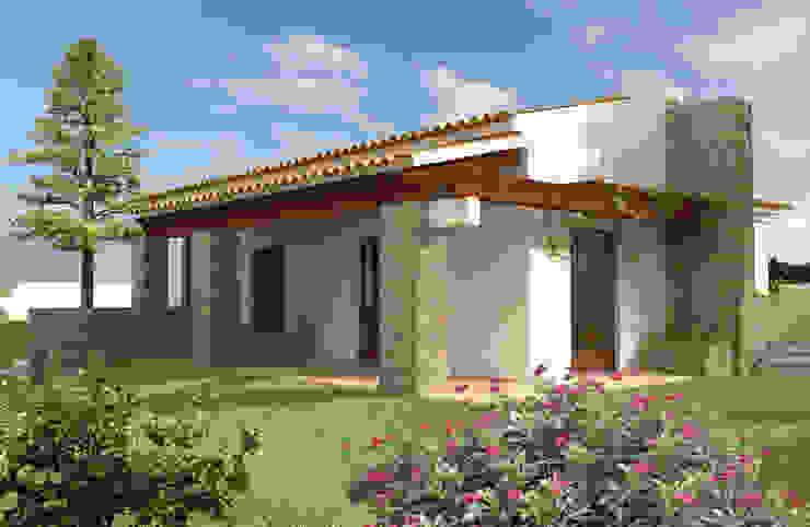 Casas campestres de estilo  por Pedro de Almeida Carvalho, Arquitecto, Lda, Rural Piedra