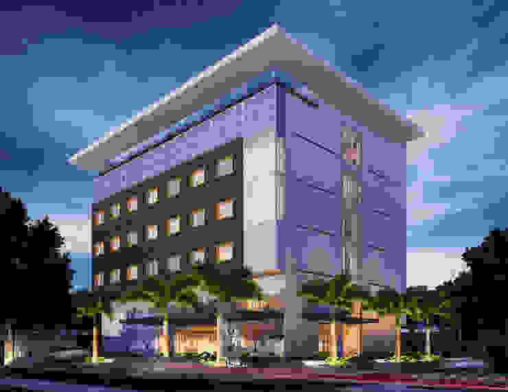 Perspectiva geral Hotéis modernos por Marcos Assmar Arquitetura | Paisagismo Moderno
