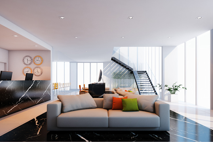 Lobby - Recepção Hotéis modernos por Marcos Assmar Arquitetura | Paisagismo Moderno