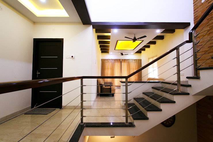 Family Room Modern corridor, hallway & stairs by homify Modern