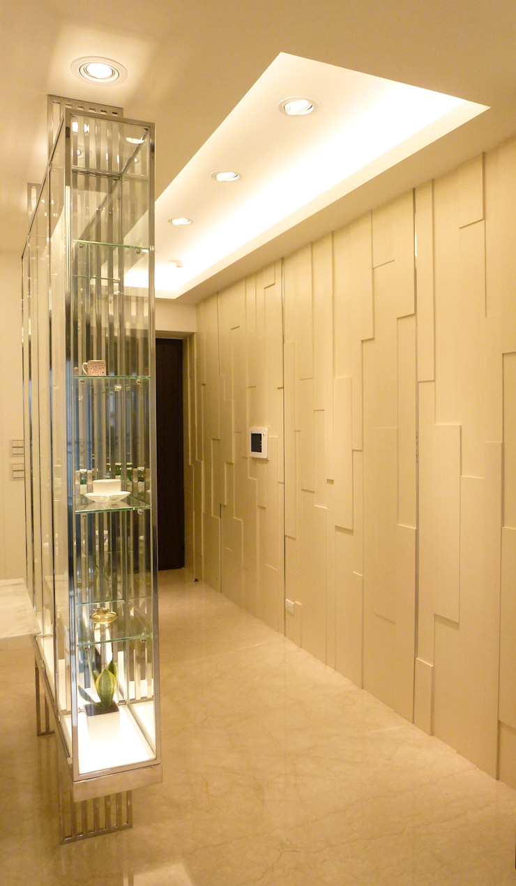住宅設計-大樓 現代風玄關、走廊與階梯 根據 沐築空間設計 現代風