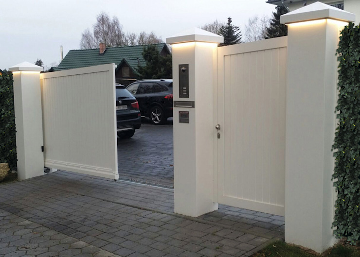 Nordzaun Modern style gardens Aluminium/Zinc White