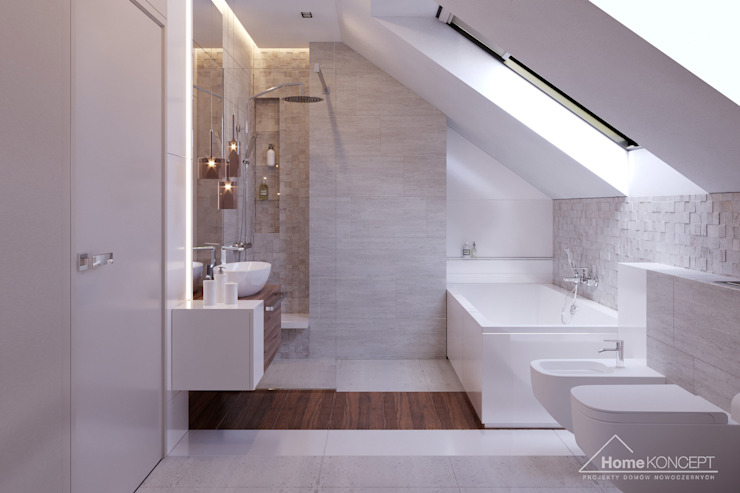 Salle de bains de style  par HomeKONCEPT | Projekty Domów Nowoczesnych, Moderne