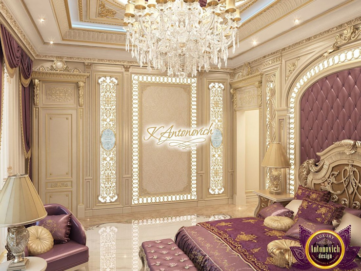 ​Fashionable interior design of Katrina Antonovich Eclectic style bedroom by Luxury Antonovich Design Eclectic