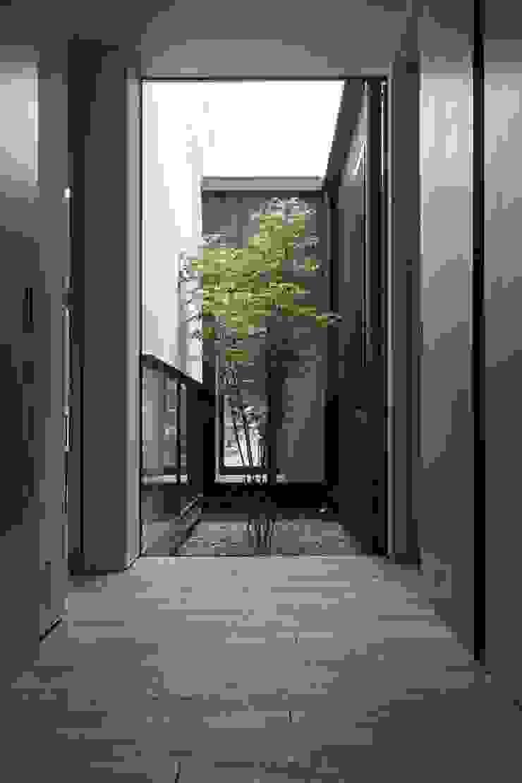 小さな中庭と大きな縁側 山本嘉寛建築設計事務所 YYAA モダンスタイルの 玄関&廊下&階段 木 木目調