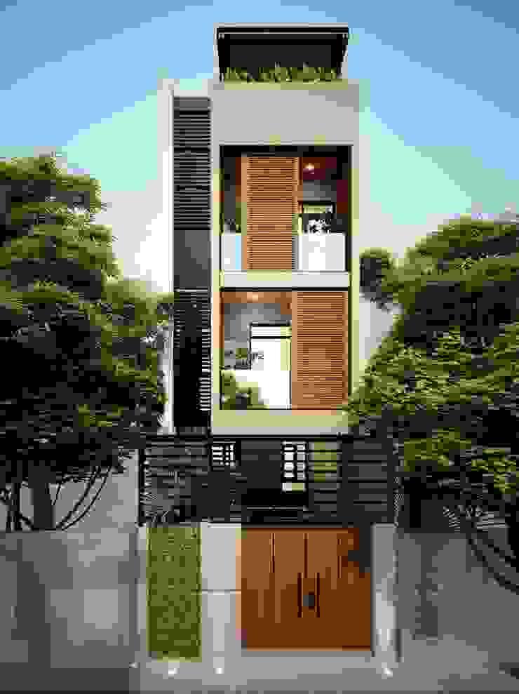 Cây xanh được bố trí gần như ở tất cả các không gian với các loại cây xanh dễ trồng. bởi Công ty TNHH TK XD Song Phát Châu Á Đồng / Đồng / Đồng thau