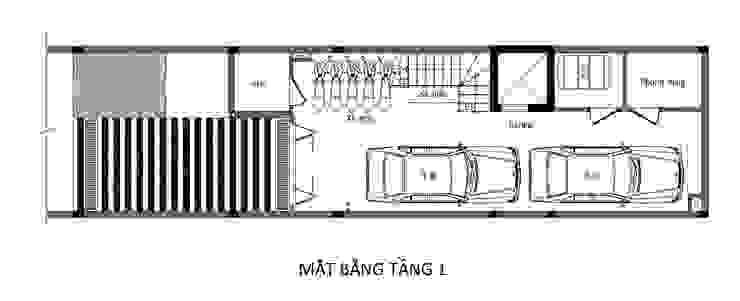 Casas unifamiliares de estilo  por Công ty TNHH TK XD Song Phát, Asiático Cobre/Bronce/Latón