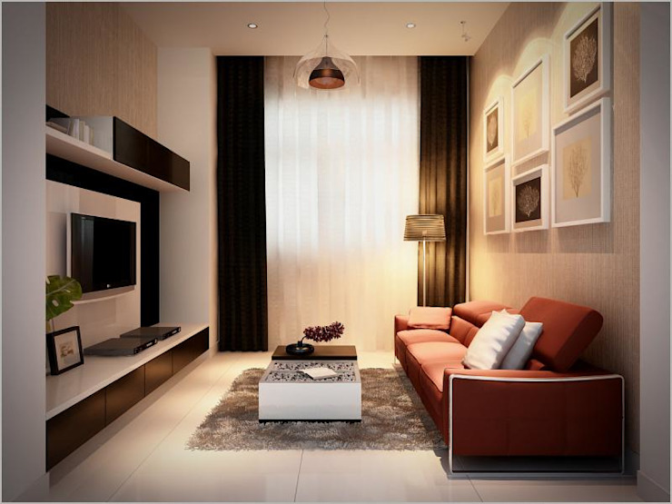 KTS đã lựa chọn bàn ghế trong phòng sinh hoạt chung này ưu tiên sự thoải mái. Phòng khách phong cách châu Á bởi Công ty TNHH TK XD Song Phát Châu Á Đồng / Đồng / Đồng thau