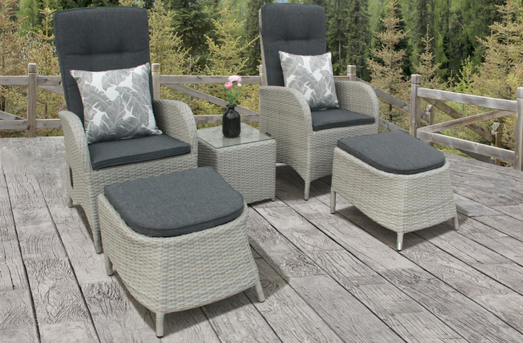 Rattan bistro set with footstools: modern  by Garden Centre Shopping UK, Modern