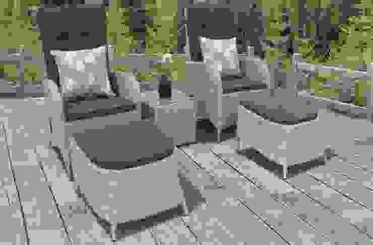 Rattan bistro set with footstools Garden Centre Shopping UK Garden Furniture