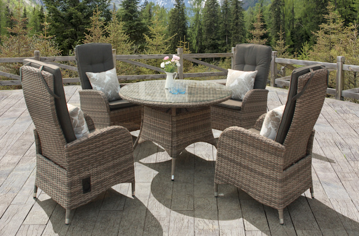 Rattan dining set with reclining chairs: modern  by Garden Centre Shopping UK, Modern