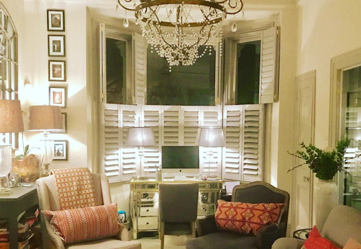 Tier on Tier Shutters in the Living Room Plantation Shutters Ltd Living roomAccessories & decoration Kayu White