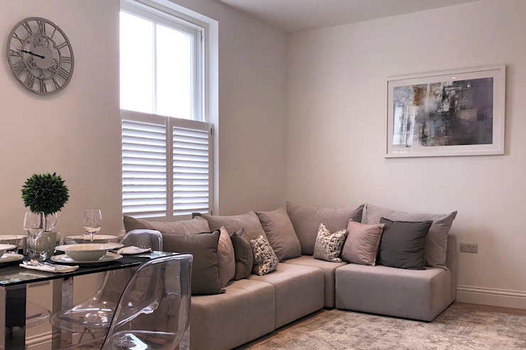 Cafe Style Shutters in the Living Room Plantation Shutters Ltd Living roomAccessories & decoration Kayu White