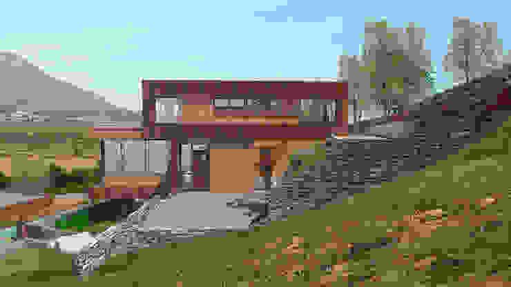 Fachada acceso cocina de Uno Arquitectura Moderno Hierro/Acero